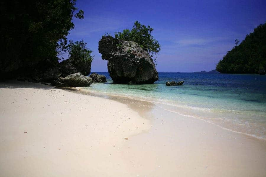 Rocks on the beach at Casa Rica Island, Cantilan, The Philippines