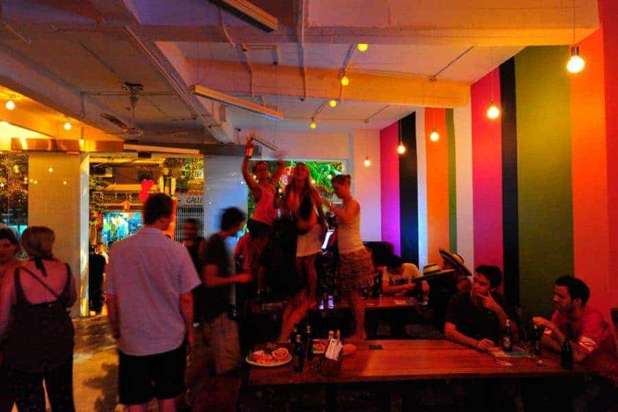 People dancing in the bar at Hanoi Backpackers' Downtown