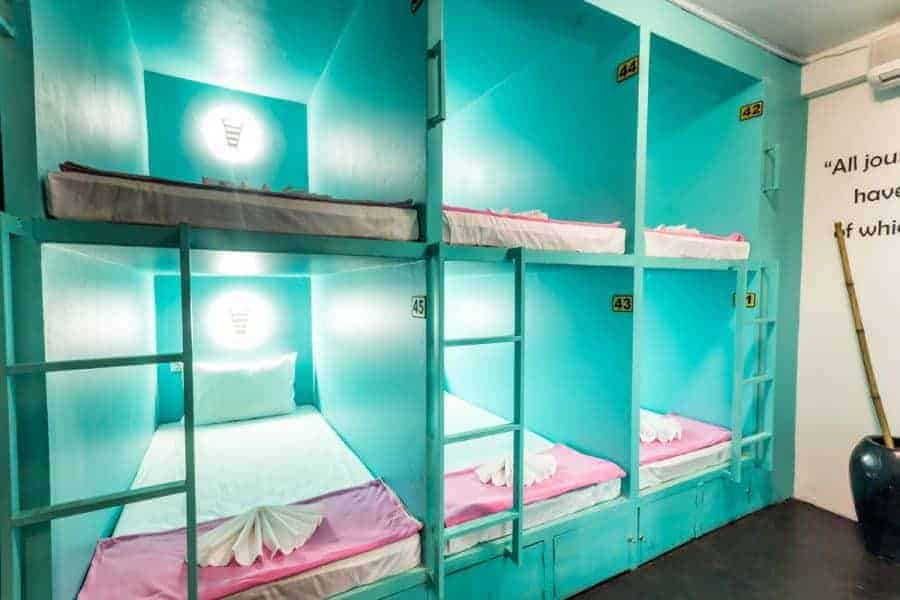 Stacked bunk beds at Oasis Capsules, Siem Reap
