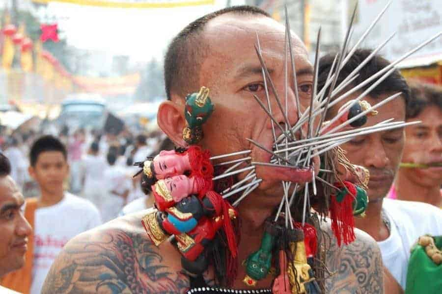 Crazy piercings that have made Phuket Vegetarian Festival famous worldwide.