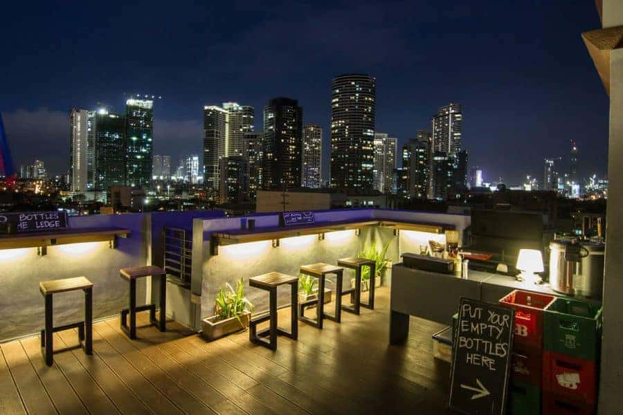 A nighttime view from the rooftop terrace bar at Z-Hostel, Manila