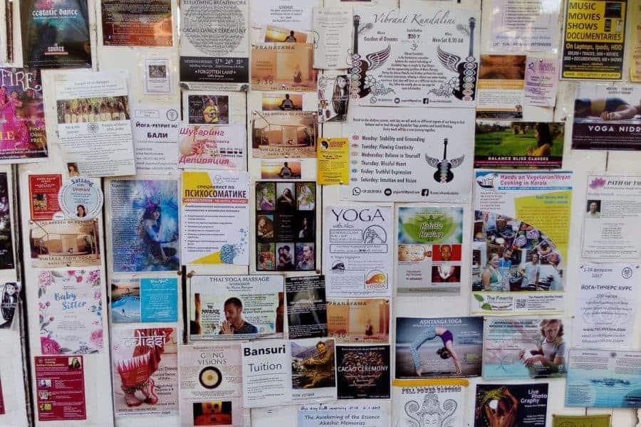 Pinboard in Arambol - Spiriutal Extremists
