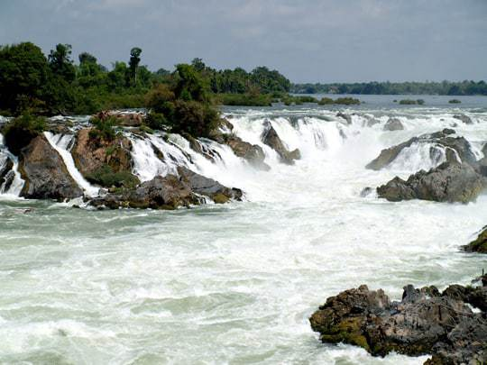 A waterfall in Si Phan Don, Four Thousand Islands, Laos