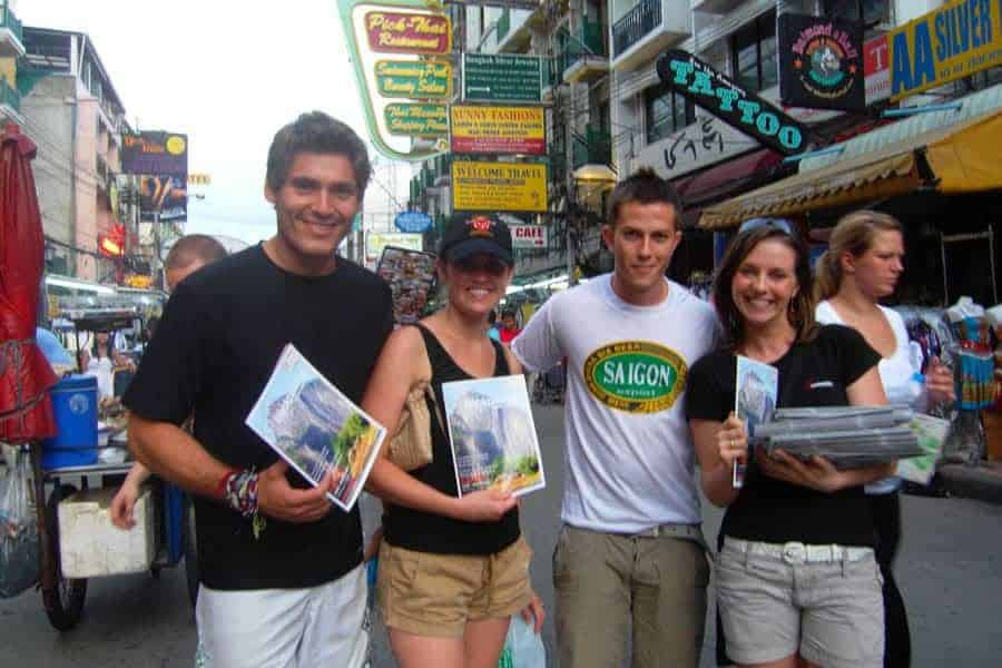 The launch day of South East Asia Backpacker Magazine, Khao San Road, Bangkok.