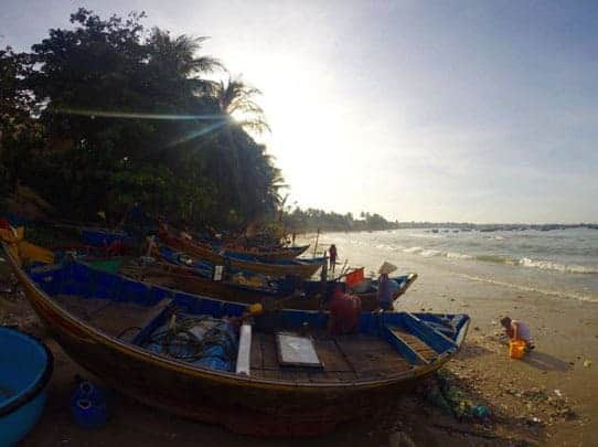Fishing boats on the beach at Lang Chi Fishing Village