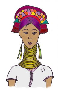 Illustration of the Karen Long Neck Hill Tribe.