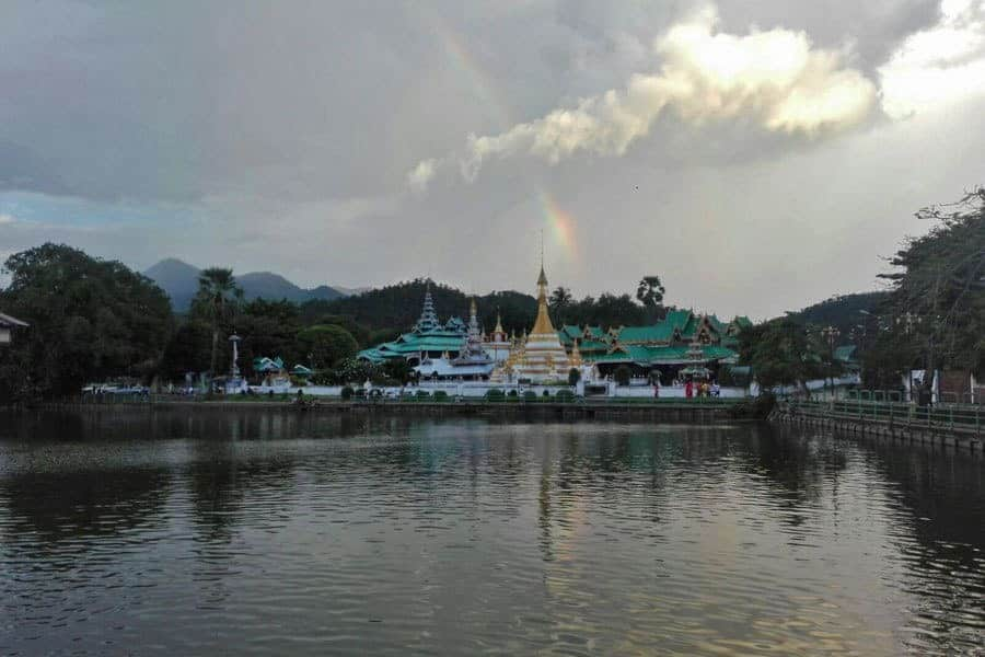 Rainbow over Chong Kam Lake in Mae Hong Son.