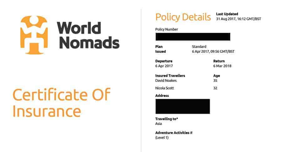 World Nomads Travel Insurance Certificate.