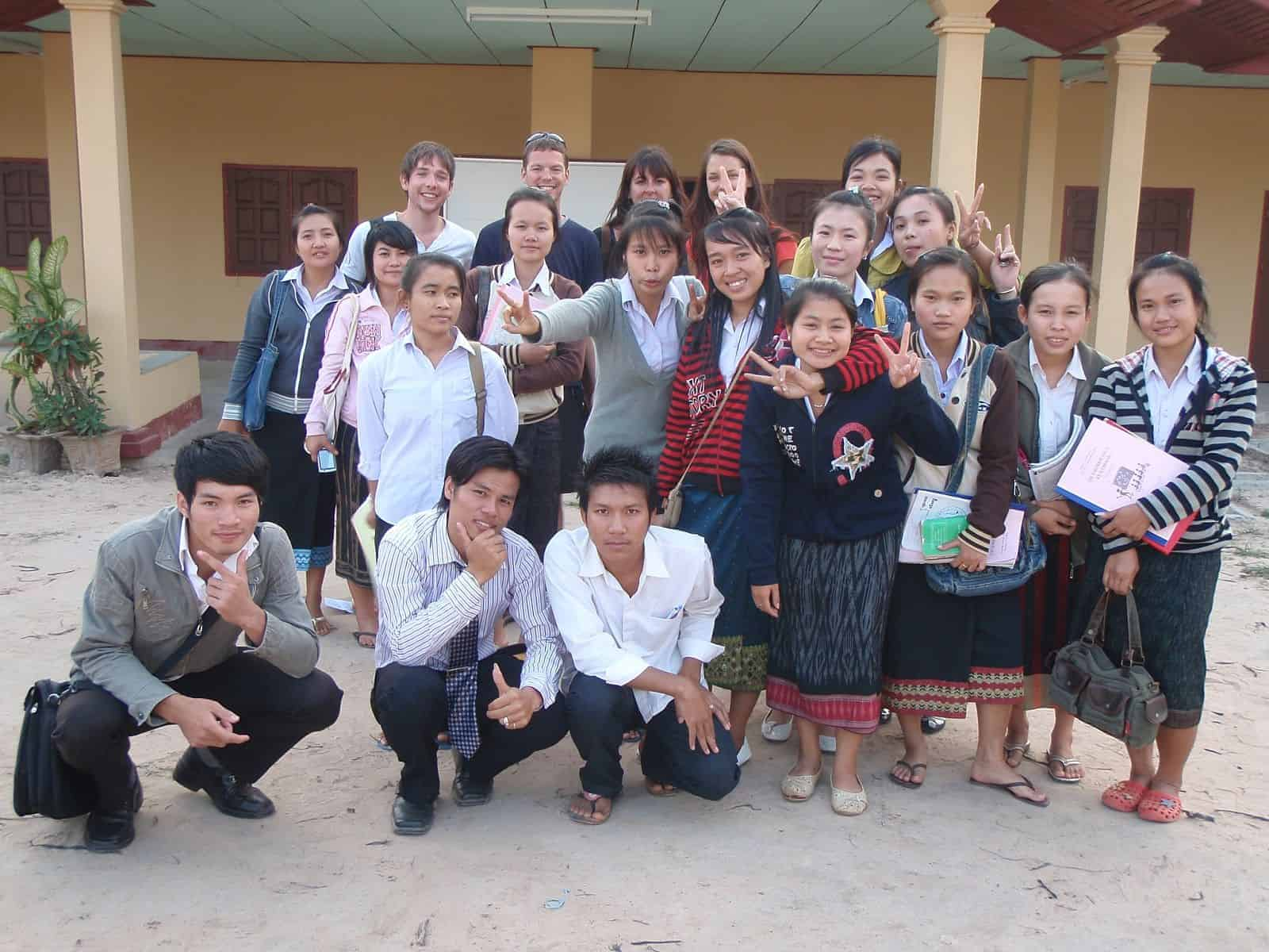 Meeting students on the Thakhek Loop