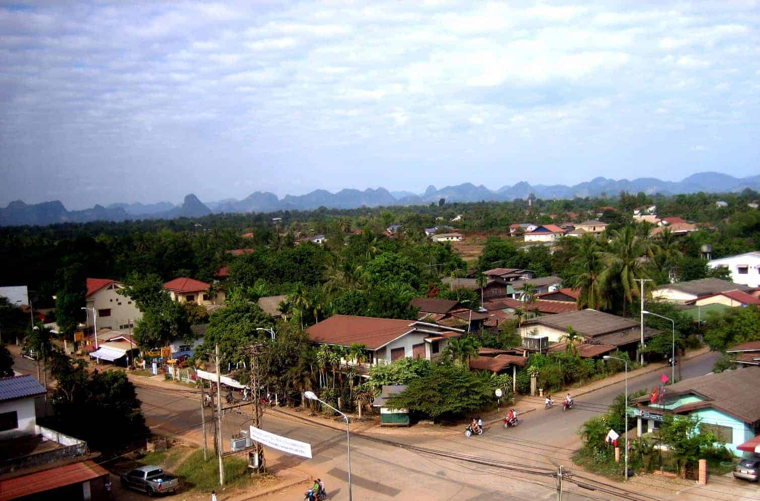 View of Thakhek Town, Laos and surrounding mountains.