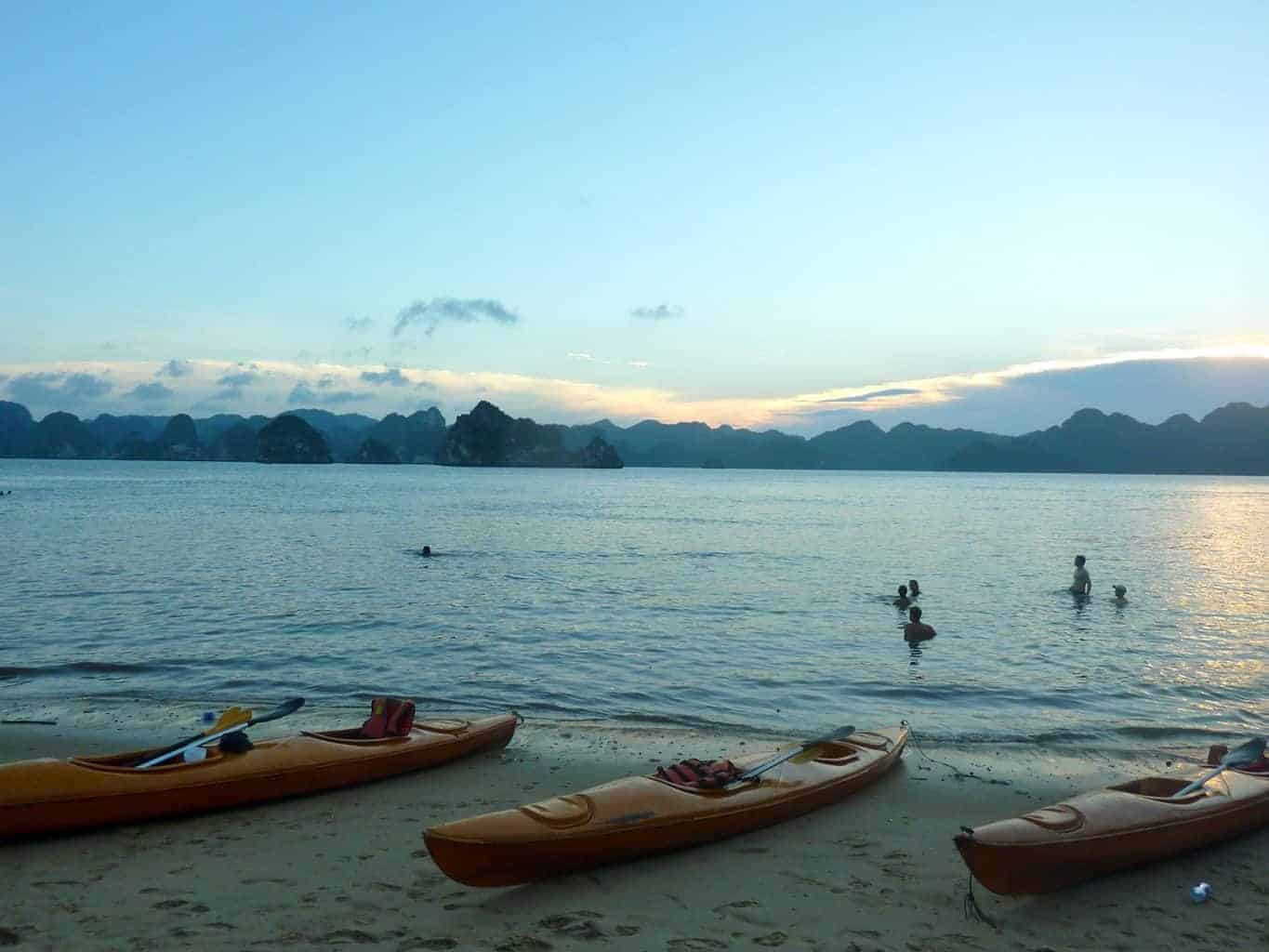 Beach kayaked to in Halong Bay