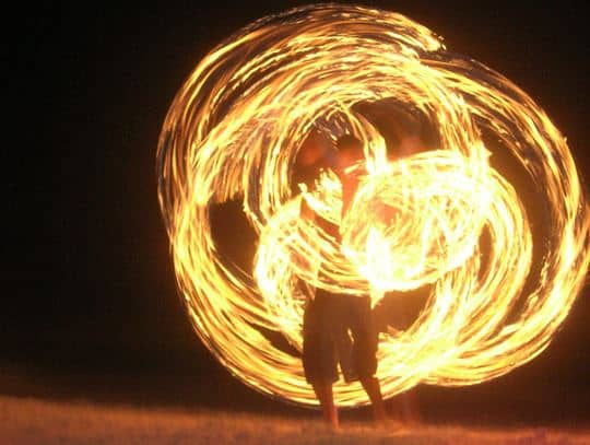Fire Dancer Sppinning Poi in Koh Tao