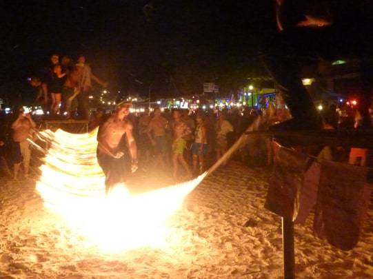 Jumping fire at the Full Moon Party in Thailand