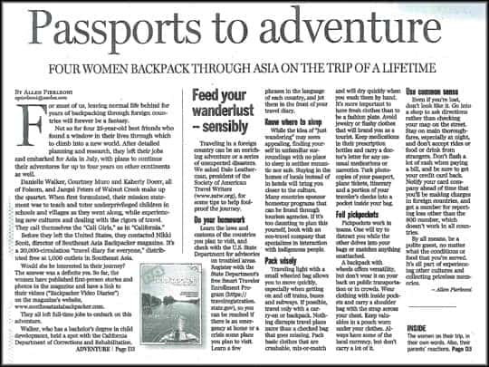 S.E.A Backpacker Magazine in The Sacramento Bee
