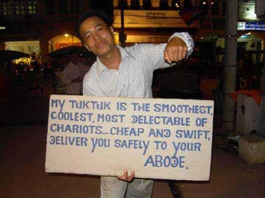 A tuk tuk driver's sales technique in Siem Reap, Cambodia