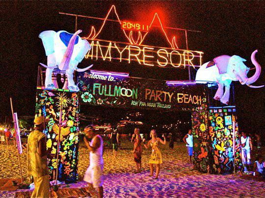 The Full Moon Party Beach in Koh Phangan Thailand
