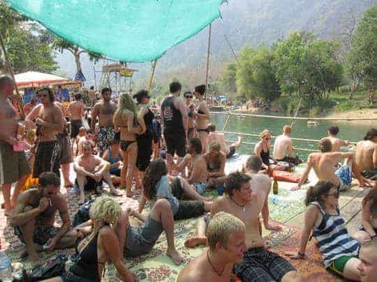 The Tubing Crowd in Vang Vieng
