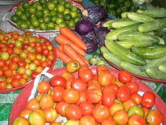 A colourful set of fresh ingredients from the local market