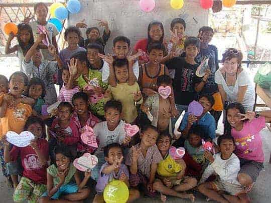 Children at APCA celebrating Valentine's day