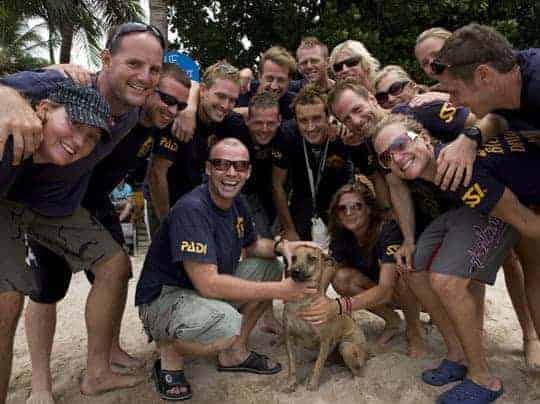Big Blue Diving Staff (& beige dog!)