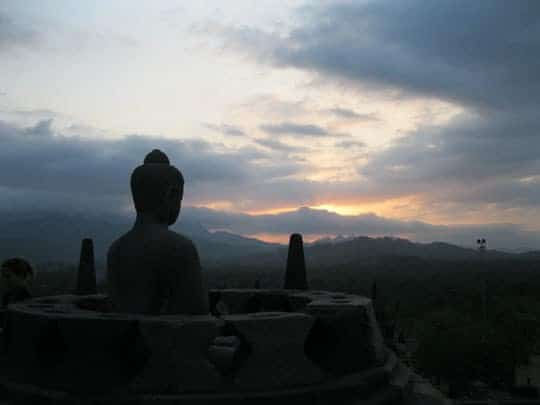 sunset at Borobodur, Java, Indonesia