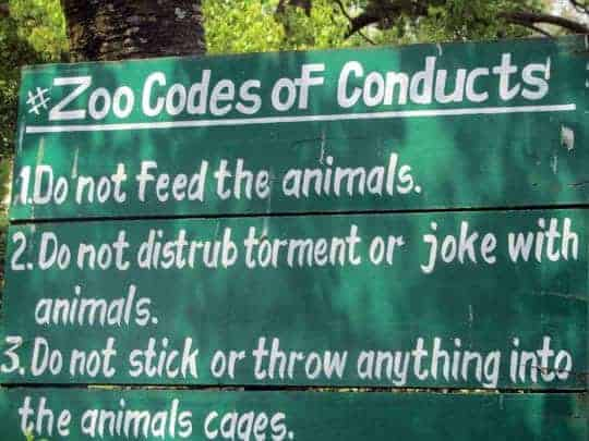 zoo codes of conduct