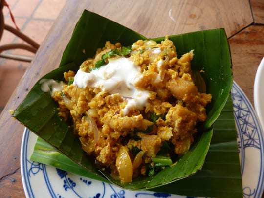 Coconut based Amok Curry served in a Banana leaf bowl in Cambodia