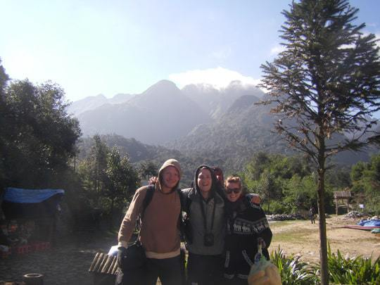Wrapped up warm for the climb up Mount Fansipan