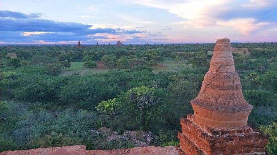 Sunset over the temples of Bagan, Myanmar.