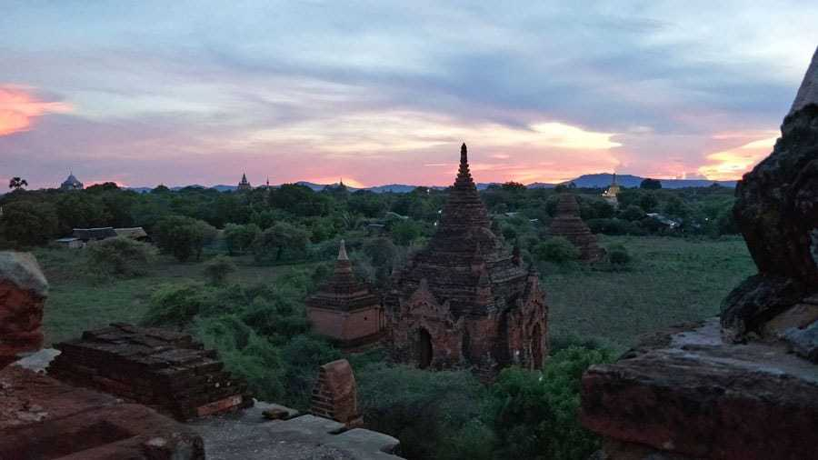 Sun setting on the temples of Bagan.