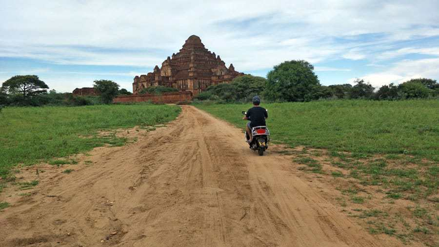 Riding on an Ebike up to Dhammayangyi Temple, Bagan.