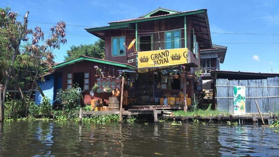A floating bar / shop on Inle Lake.