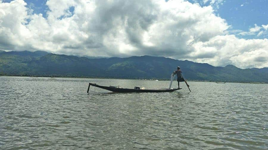 The famous leg rowers of Inle Lake.