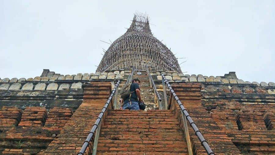 Bamboo scaffolding on Shwesandaw Pagoda, Bagan.