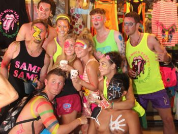 Neon vests aplenty on the party island of Koh Phangan.