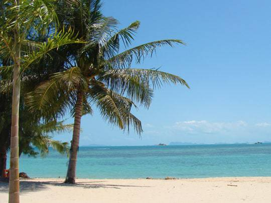 Blue Sky, Blue See and Pale Sand on the Trang Islands, Thailand