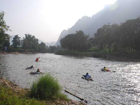 November 2012: The much quieter tubing scene in Vang Vieng