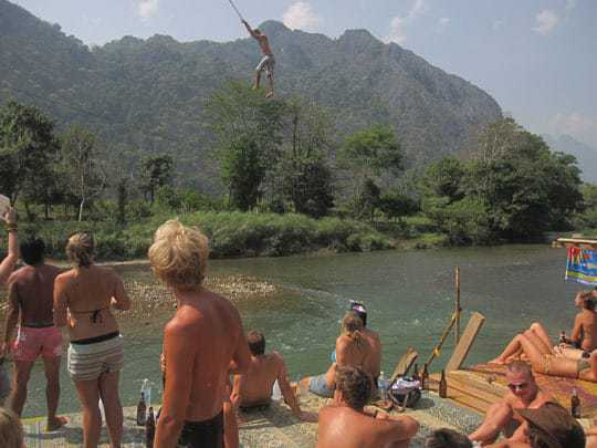 The zip wires of Vang Vieng