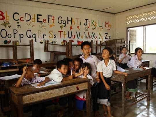 Teaching at school Vang Vieng