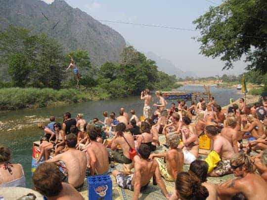 The party's over. Backpackers tubing in 2010 Vang Vieng