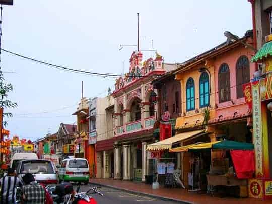 Colourful buildings in Chinatown, Melaka, Malaysia