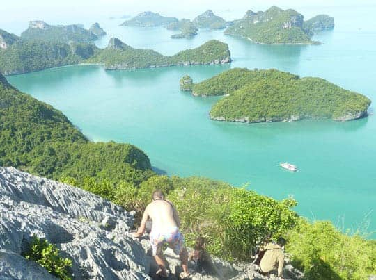 Scrambling up to the viewpoint Ang Thong Marine Park