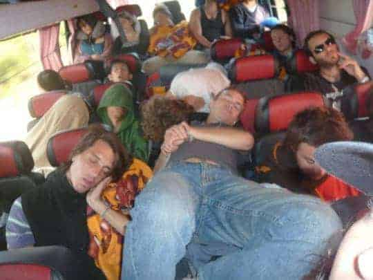 Tourists Sleeping on a Very Crowded Laos to Vietnam Bus