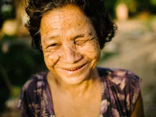 An Elderly Cambodian Woman Smiles