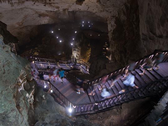 The descent into one of the caves at Phong Nha Ke Bang National Park