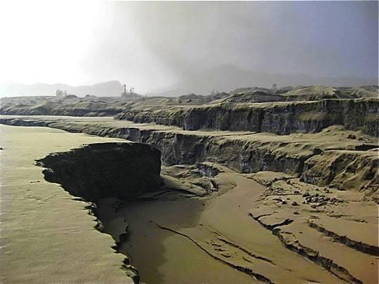 Deep crevices along the ash desert edit