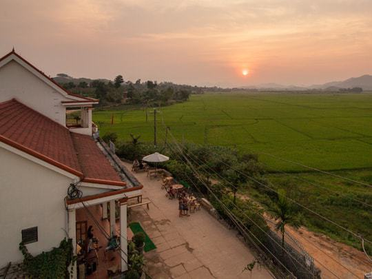 The sunset seen from Easy Tiger Hostel Phong Nha