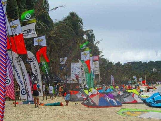Kiteboarding Sets on the Beach in Bulabog Beach, Boracay