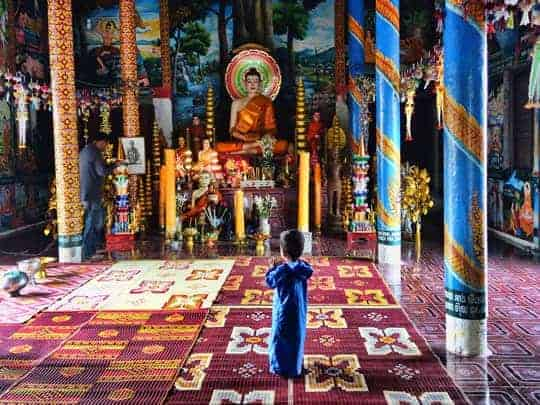 Backpacker Respect South East Asia Boy In Temple