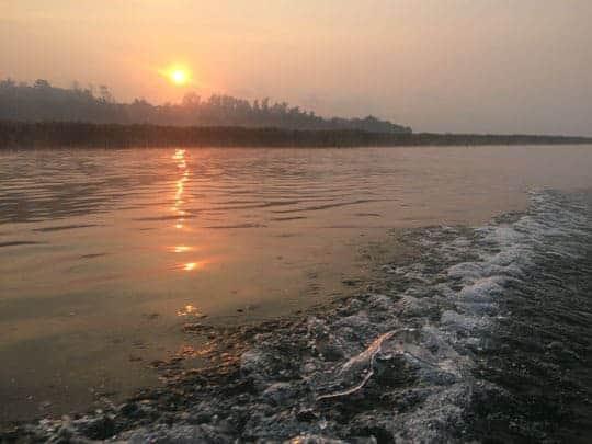 Sunset seen across Khao Laem Lake, Khao Laem Lake, Thailand